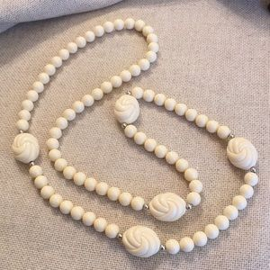 "Vintage Cream Ivory Beads Approx. 37.5"" long"